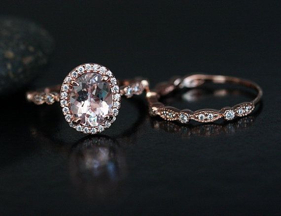 Morganite Engagement Ring 14k Rose Gold Morganite Oval 9x7mm and Diamond Halo Ring Milgrain Band Wedding Ring Set