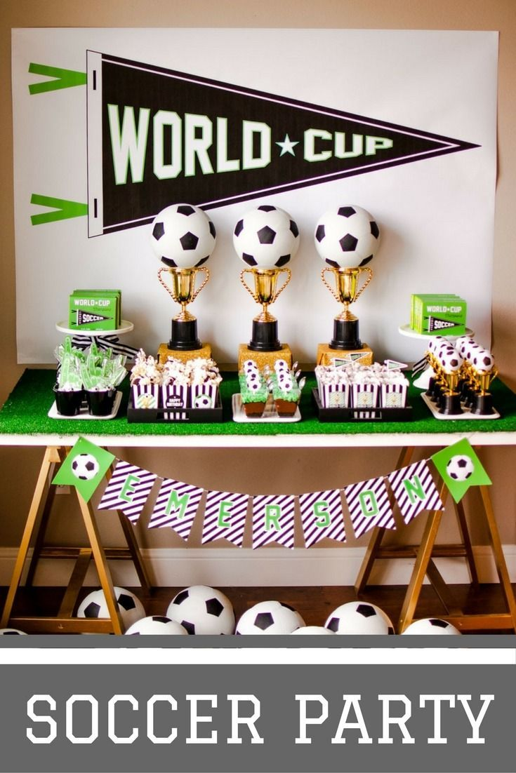 Soccer Themed Birthday Party Soccer Party Decorations Soccer Theme Parties Soccer Party