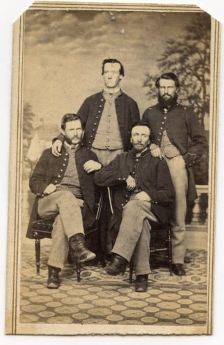 CIVIL-WAR-CDV-4-SOLDIERS-OFFICERS-FROM-PENNSYLVANIA-BY-HOLYLAND-WASHINGTON-DC