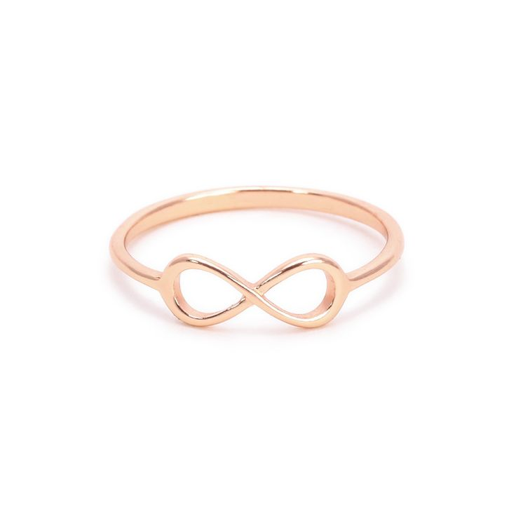 Simple sterling silver infinity ring with gold plating. Available in white, yellow, or rose gold overlay. Size 5 fits some as Midi ring. Joint Ring/Knuckle Ring ENTER SIZE 5, 6, 7, OR 8 IN PERSONALIZE