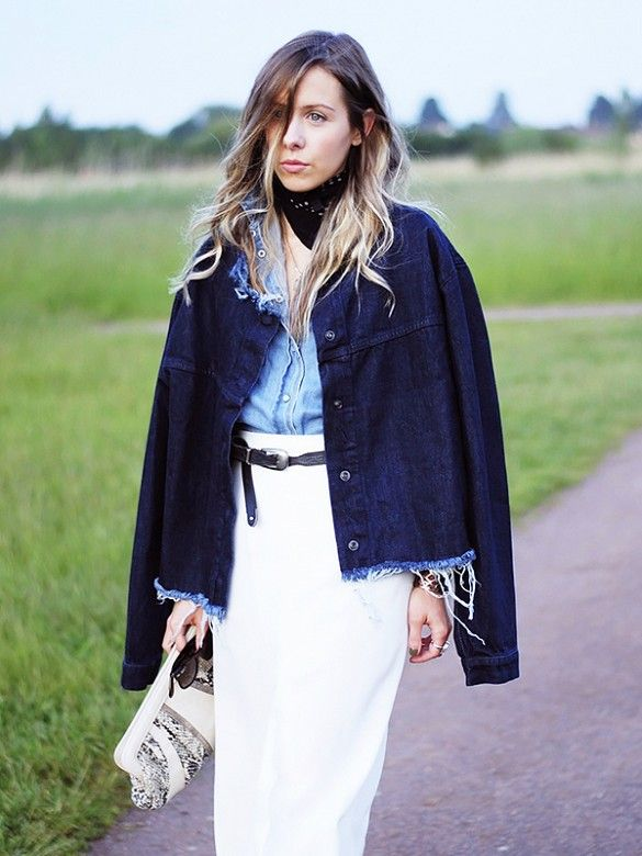 Test out a western-inspired look by styling a light denim shirt with a loose white skirt and statement belt. // #StyleTip