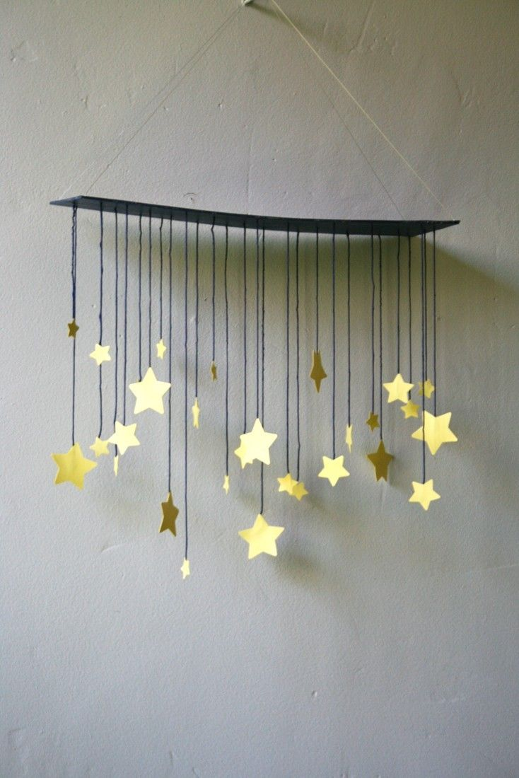 Raining Stars Mobile. I'm picturing this as a circular or cross frame mobile with thin/light strings that almost disappear and allow each star to rotate independently.
