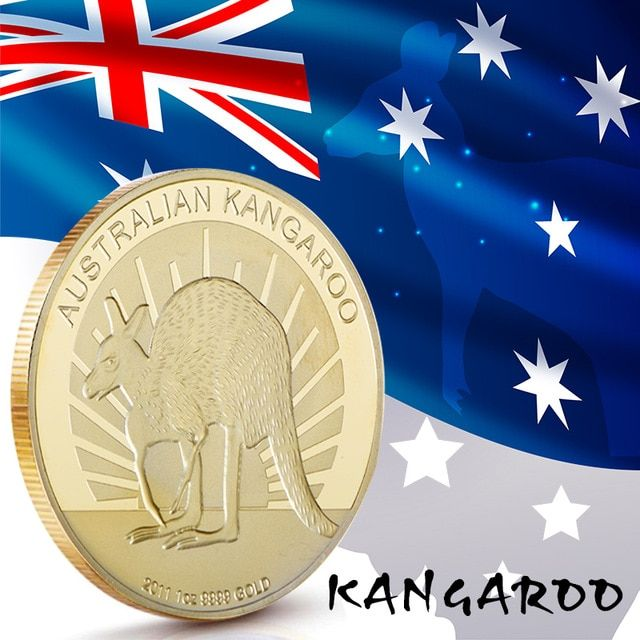 Australian Kangaroo Gold Plated Coin The Elizabeth II Gifts Commemorative Coins