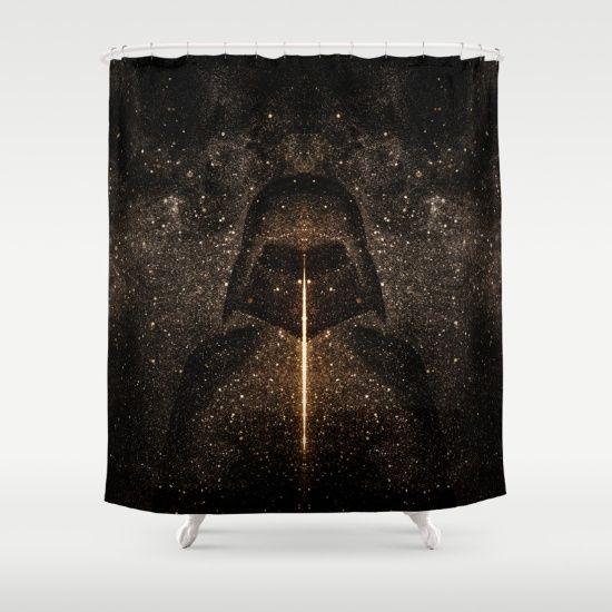 Force of light through the dark side shower curtain bathroom decor by #PLdesign #StarWars inspired #homedecor #home @society6