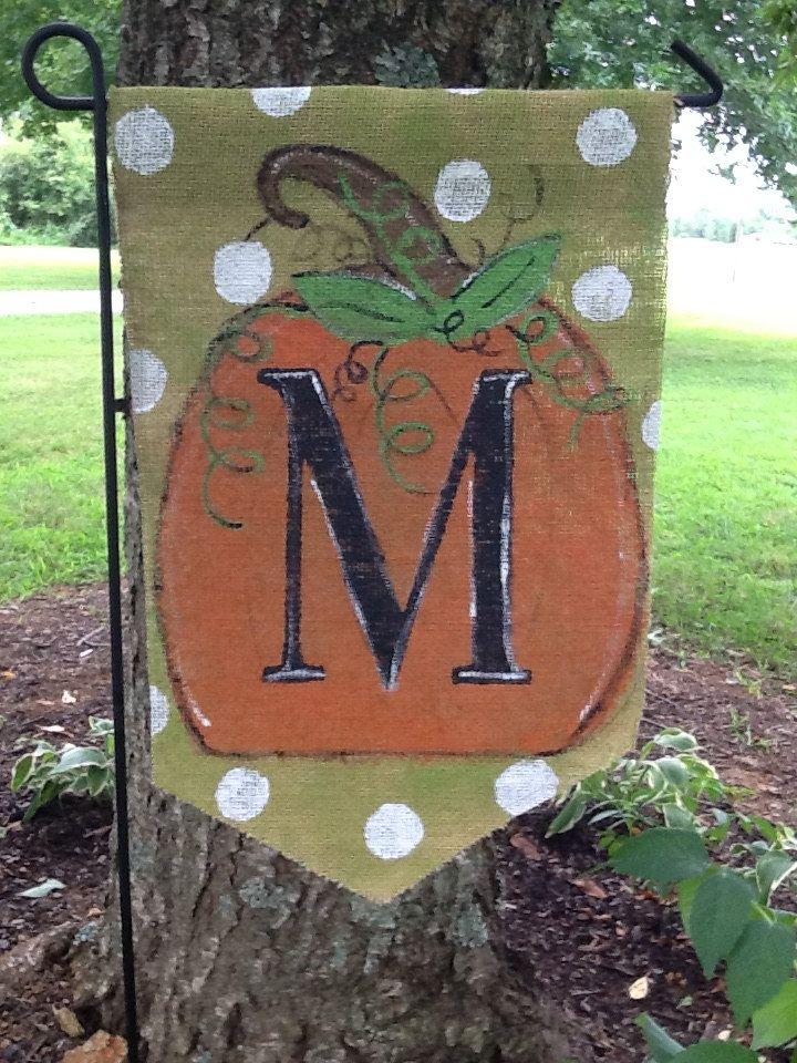 Fall Burlap Yard Flag with Pumpkin and Monogram by Burlapulous, $20.00