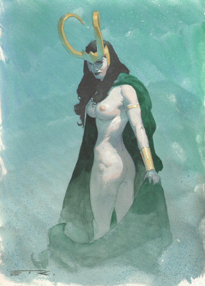 Anthony's Comic Book Art :: For Sale Artwork :: Lady Loki Naked Watercolor Commission - 2014 Signedby artist Esad Ribic