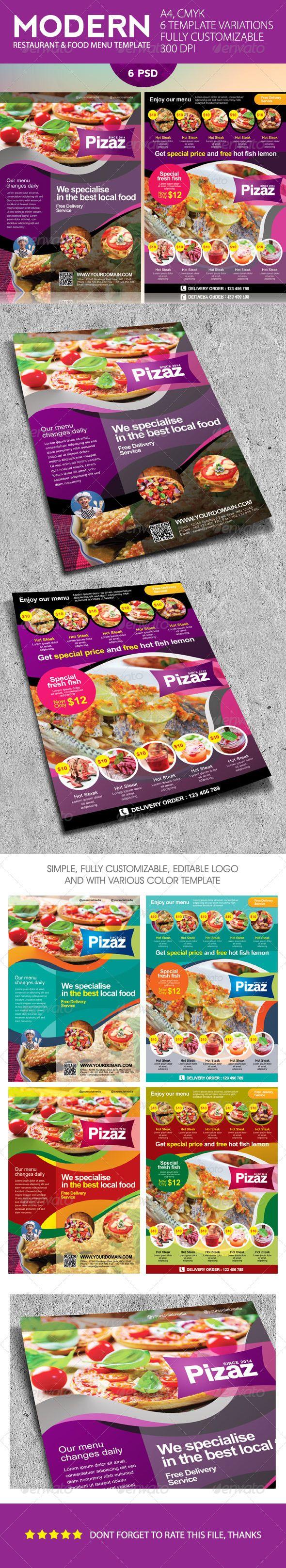 Modern Restaurant and Food Menu Flyer Template #design #speisekarte Download: http://graphicriver.net/item/modern-restaurant-and-food-menu-flyer/7489990?ref=ksioks