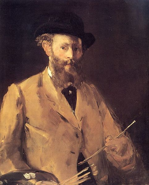 Édouard Manet, Self Portrait with Palette; 1878-1879. He deliberately blurs out the hand and palette so the viewer focuses on the facial expression.