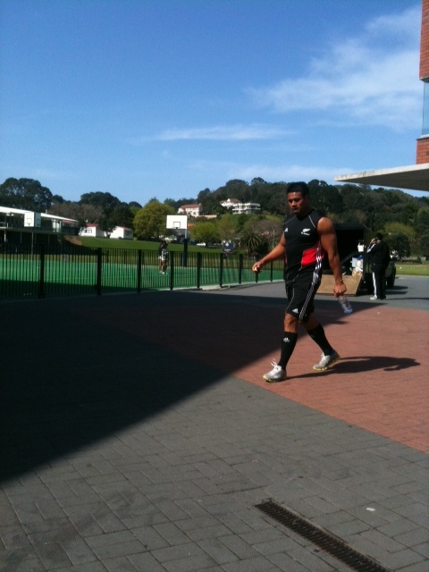 hanging with the All Blacks the day before the World Cup finals... gotta love that you can do that : )