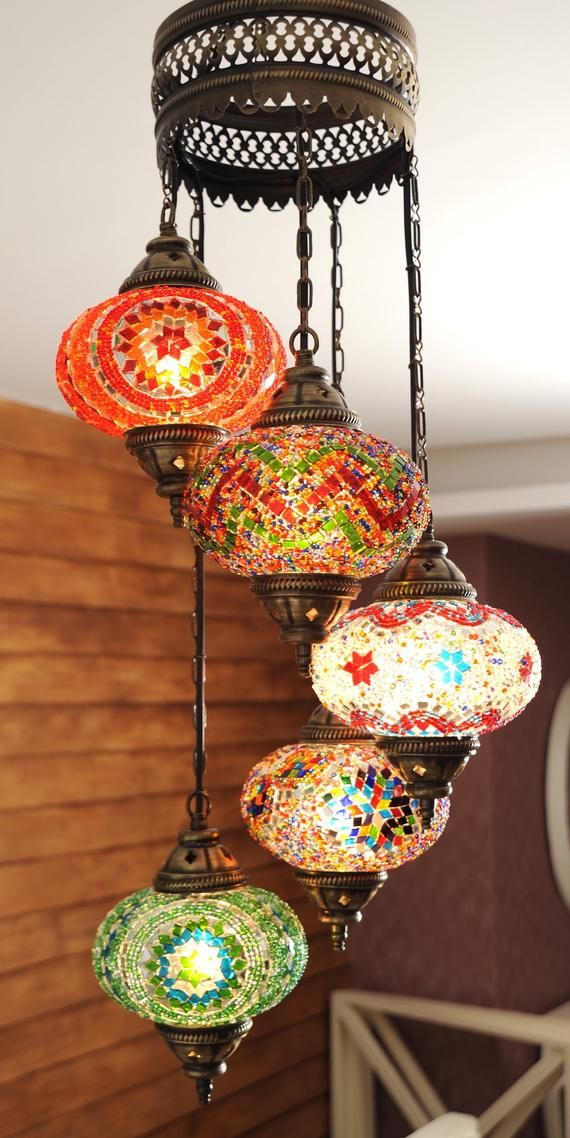 Free Ship Turkish Moroccan Handmade Mosaic Hanging Ceiling Lantern