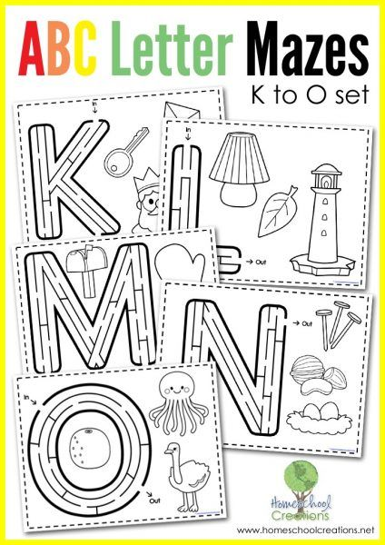Next in the set, here is FREE Alphabet Mazes Letters  K-O. This FREE alphabet maze and coloring pack includes letter mazes for the letters K-O and addit