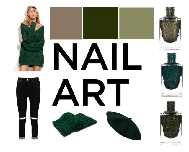 """Green Envy; Wintery Nail Polish"" by gothicvamperstein on Polyvore featuring beauty, Boohoo and nailedit"