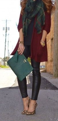 Leather Leggings + Leopard High Heels + Green Bag + Green Plaid Scarf / #fashion #style #outfits