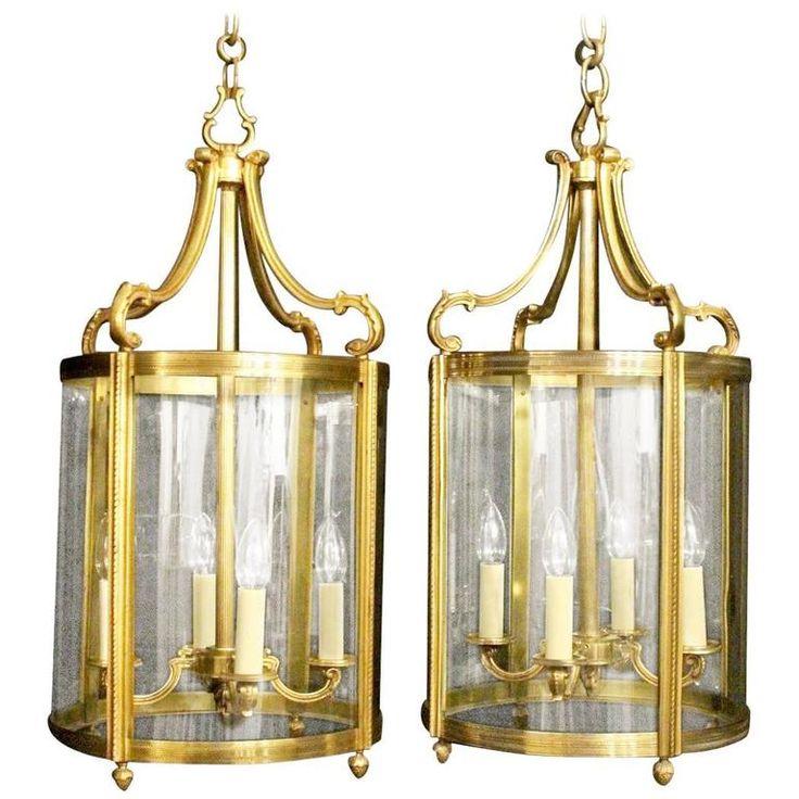 French Gilded Pair of Bronze Antique Lanterns | 1stdibs.com