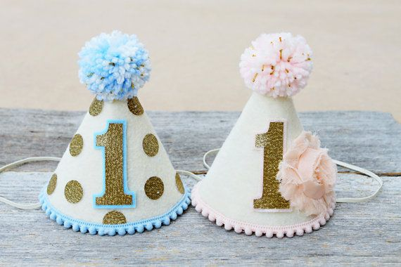 Girl Boy Twins 1st Birthday Pink, Blue and Gold Party Hats - Girls Shabby Chic 1st Birthday Party Hat - Boys First Birthday Party Hat