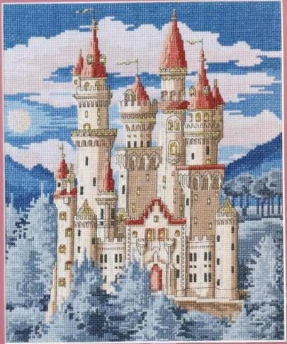 "Free cross-stitch design ""Fairy castle"".This magical fortress is a fantastic…"