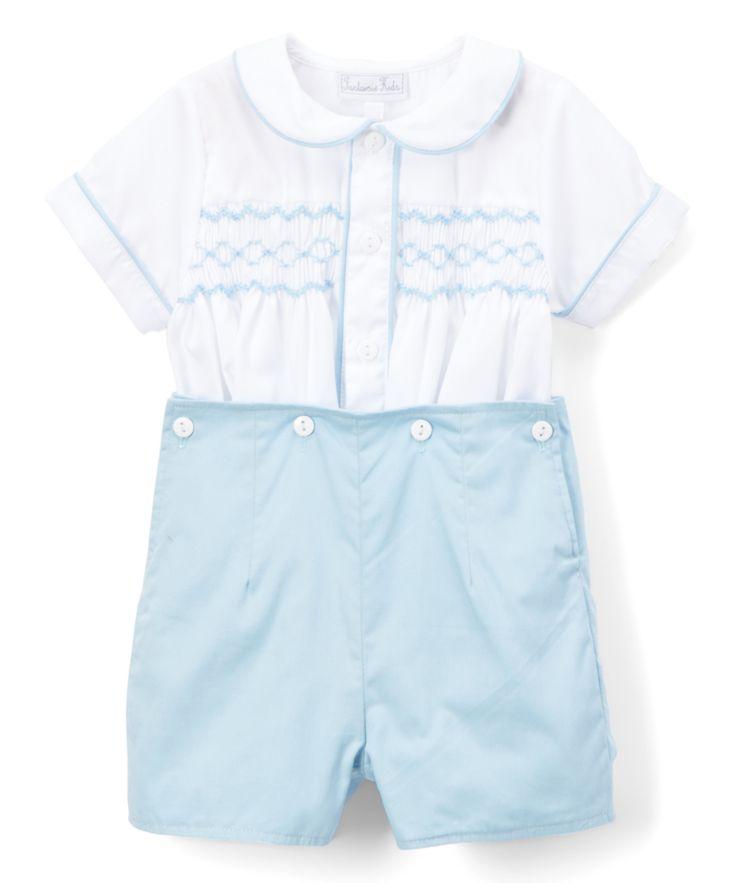 White & Blue Smocked Top & Shorts - Infant