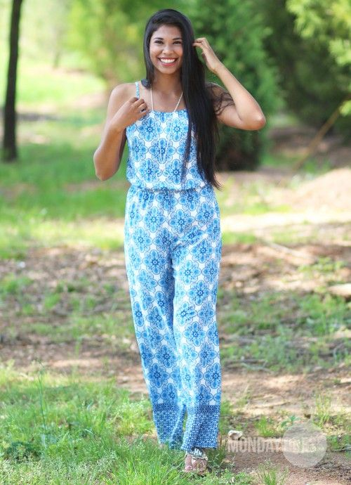 Sunny and Sweet Jumpsuit in Blue   Monday Dress Boutique