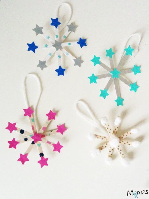 Voilà de ravissantes décorations pour le sapin à réaliser avec des enfants : des flocons de neige digne de la reine du même nom !