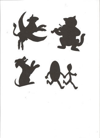 Hey Diddle Diddle Mother Goose collection silhouettes set of four. $2.25, via Etsy.