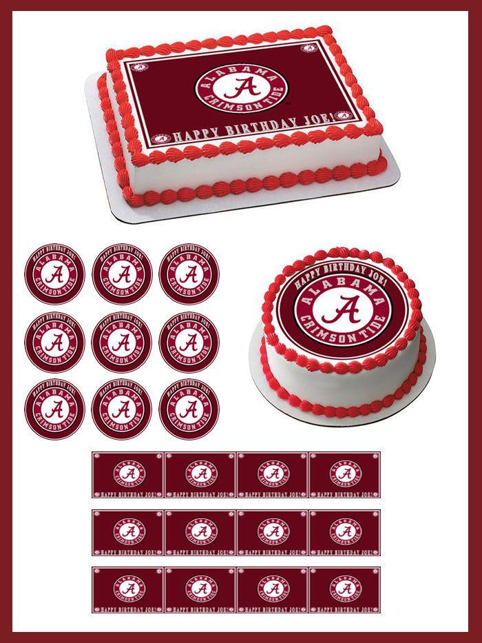 ALABAMA CRIMSON TIDE UNIVERSITY Edible Birthday Cake Topper OR Cupcake Topper #BirthdayChild