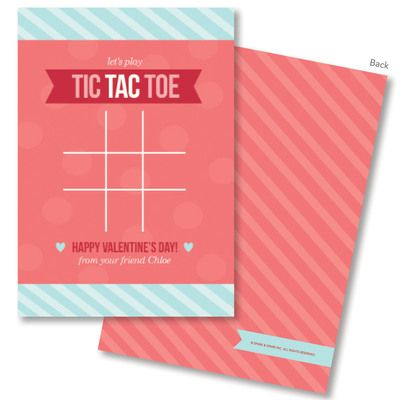 Pink Tic Tac Toe Valentine Exchange Cards Christmas