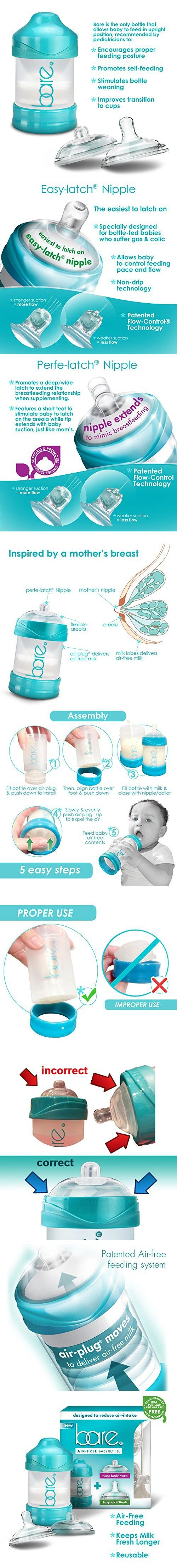 Bare Baby Bottle w/ Breastfeeding & Bottle-Feeding Nipples - Unique Air Free & Flow Control Technology - Baby Registry Favor Gift - 4oz Bottle PackIF NOT FROM BITTYLAB SELLER, IS NOT GUARANTEED