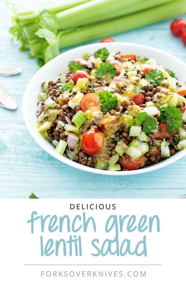 French Green Lentil Salad - Plant-Based Vegan Recipe