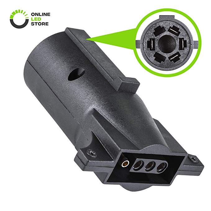 Nickel-Plated Copper Terminals Compact Design Rugged Nylon Housing ONLINE LED STORE 7-Way Blade to 4-Way Flat Trailer Adapter 7-pin to 4-pin Trailer Wiring Plug Adapter