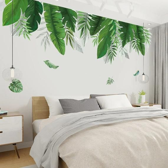 Flowers Leafs Wallpaper Decals Accent Wall Room Green Wall Art Repositionable Wall Mural Peel /& Stick Pattern Removable Modern Room