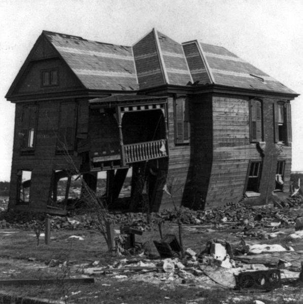The only remaining house near the beach for miles  after the1900 Storm. The Great Galveston Storm of Sept. 8–9, 1900, was the worst natural disaster in U.S. history in terms of human life. Loss of life has been estimated at 6,000 to 8,000, but the exact number has never been determined.