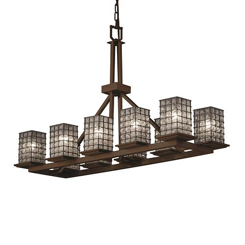 Justice Design Group Wire Glass Brushed Nickel 10 Light Flat Rim Square Rectangular Ring Chandelier On SALE