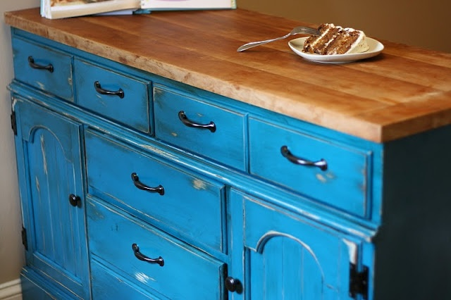 Up-cycled dresser into Kitchen Island. Beautiful Color!  I am stealing this for a dresser that I have, just need to repaint mine.  Does anyone know where to stick the microwave in a tiny kitchen  when there is no counter space for it and you want this in there instead of a microwave cart.