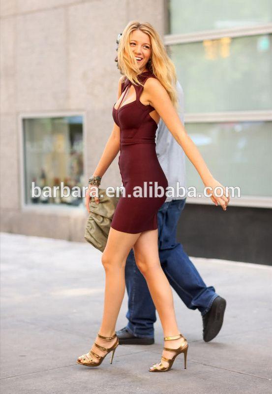 2014 blake lively sexy escote corazón rojo vendaje vestido atractivo vendedor caliente del vestido