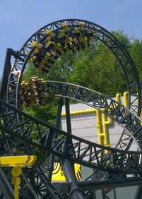 the Smiler @ Alton Towers - Surrey, England (steel coaster that loops 14 times!!!).