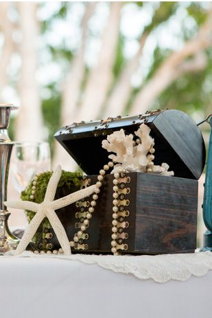 Treasure chest as nautical wedding decor.
