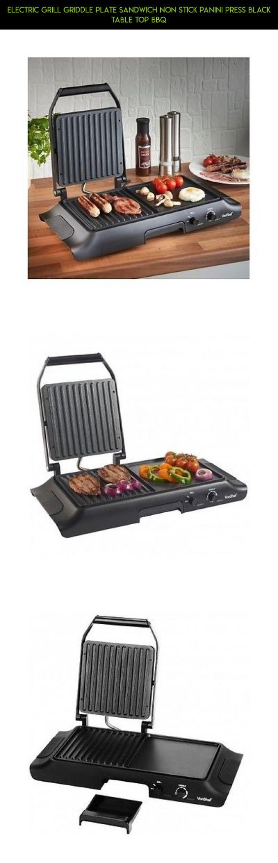 Electric Grill Griddle Plate Sandwich Non Stick Panini Press Black Table Top BBQ #technology #kit #shopping #tech #grills #gadgets #fpv #drone #plans #top #table #racing #products #parts #electric #camera