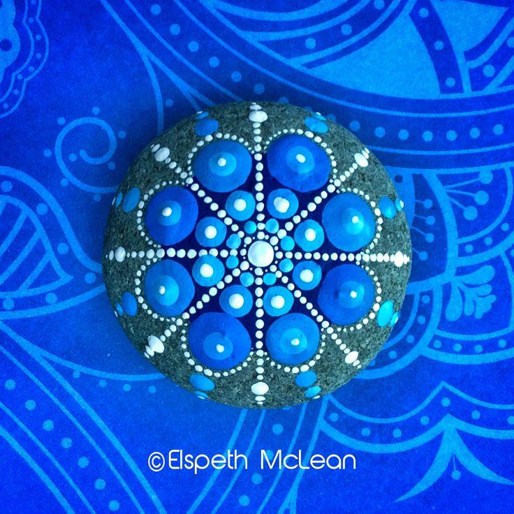 Snowflake Mandala Stone by Elspeth McLean #snowflake #frozen #rockart #elspethmclean #mandala #paintedstone
