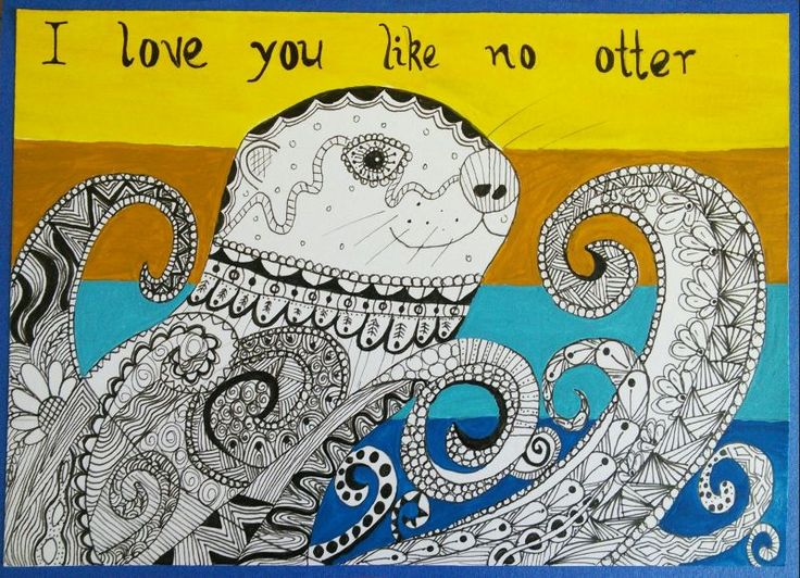 Otter zentangle art card. Zana's Cards measure 7.2″ x 5.2″, or 18cm x 13cm.They also include an envelope for you to use to send your cards. #otterzentangle #valentinesart #valentinezentangle #zentanglecard #zentangleart #zanascards www.zanascards.com