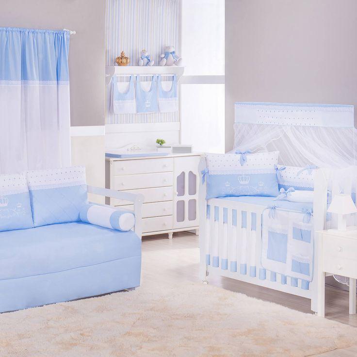 O Quarto de Bebê Príncipe Harry tem coroas delicadas e muito amor! Com essa decoração de quarto de bebê azul, o ambiente ganha um aspecto de tranquilidade que é apaixonante!