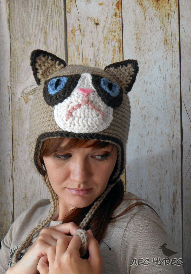 Купить Шапка Хмурый кот (Grumpy cat) - бежевый, котошапка, шапка с ушками, прикольная шапка