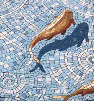 Goldfish mosaic by Gary Drostle (what creativity, the way he did the shadow)