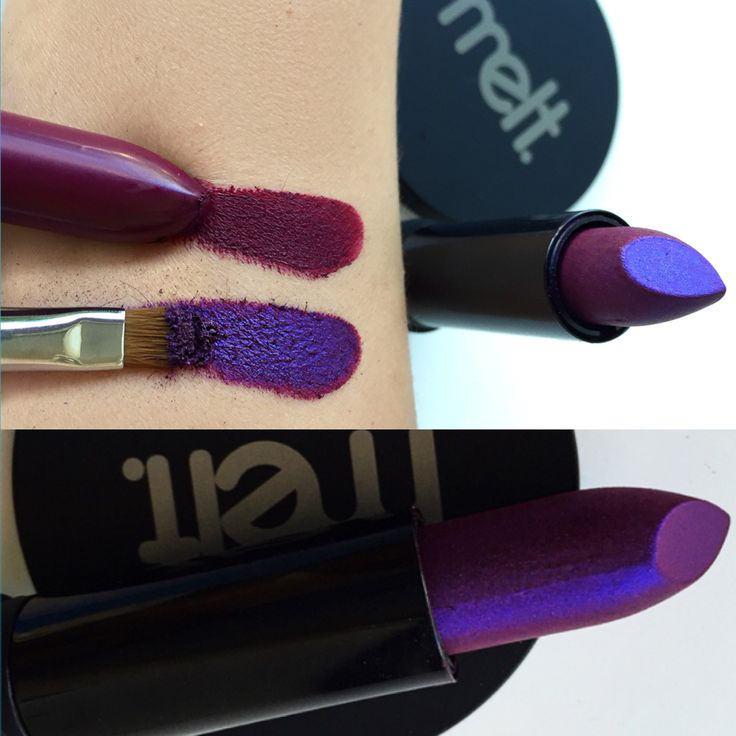 Promiscuous eyeshadow MeltCosmetics Darkroom lipstick beet colored lips, to an iridescent violet blue beautiful !!!