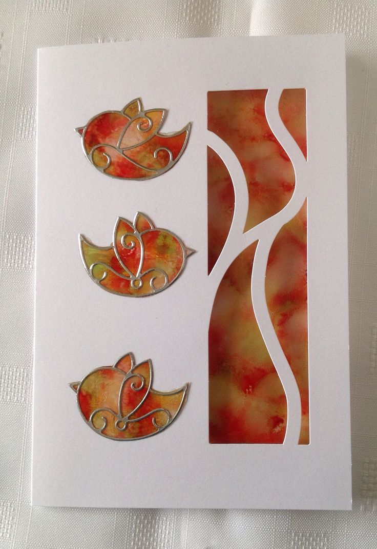 Card Making Ideas Using Acetate Part - 32: Alcohol Inks Pounced On Acetate. Coloured Acetate Panel In Aperture. Peel  Offs Applied To