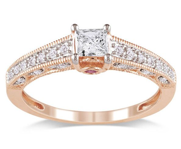 The Pink Gold Ring 0.5 ct 10k pink gold ring, $882 at Overstock.com