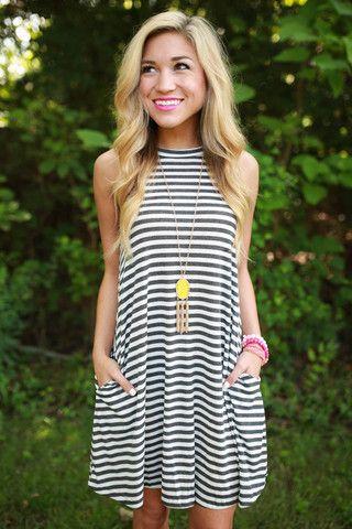 The Lola Stripe Tank Dress in Charcoal