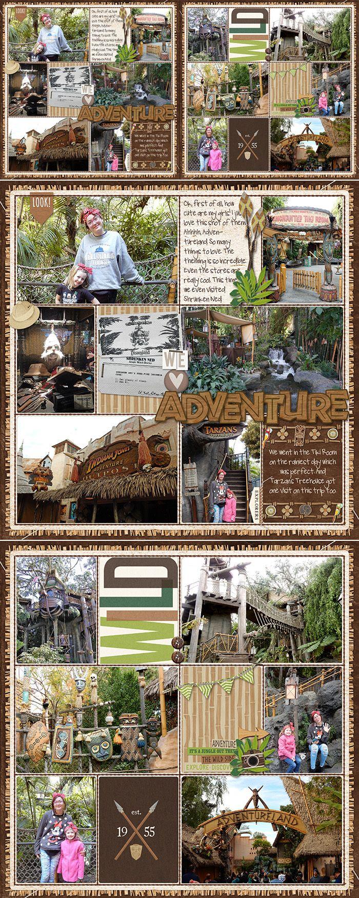 Disney scrapbook ideas - Disney Adventureland Pocket Scrapbook Layout Tarzan S Treehouse Tiki Room Indiana Jones Outpost