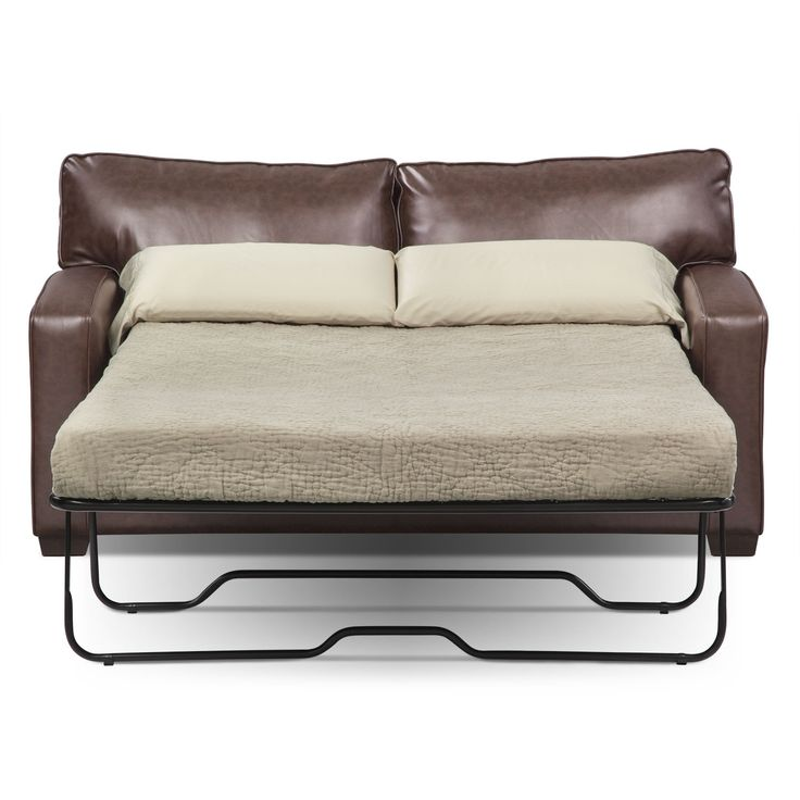 Rest Assured. There's no need to sacrifice form for function with the stunningly stylish Brookline Full sleeper sofa. Made of ultra-soft and durable bonded leather, the Brookline features welted back and seat cushions for a sleek and modern silhouette. Low-profile track arms and block feet finish off the look of this piece that's so stylish, no one will guess it's a sleeper sofa! A 4.5-inch memory foam mattress is included.