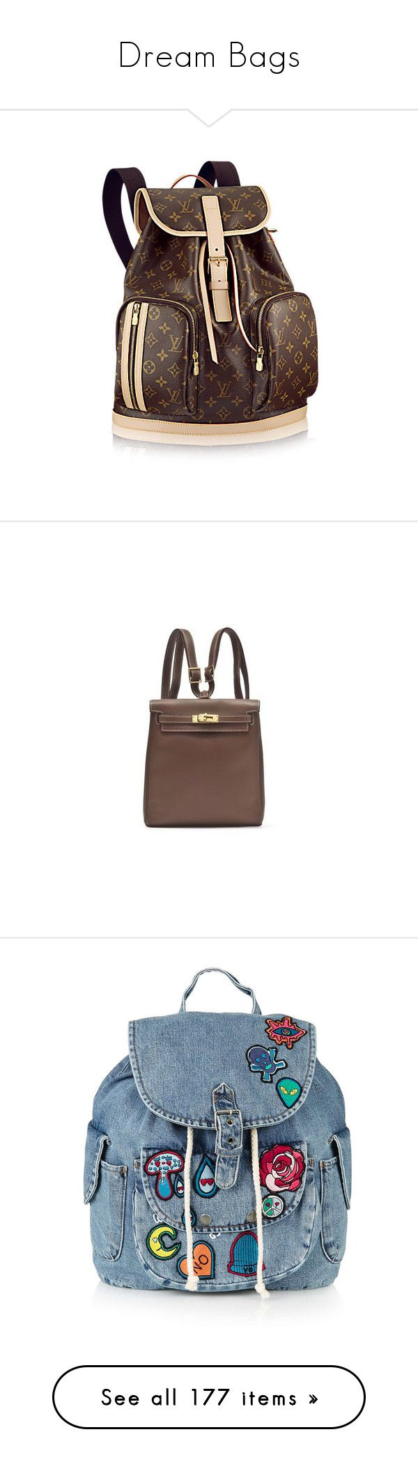 """""""Dream Bags"""" by gracebeckett ❤ liked on Polyvore featuring bags, backpacks, backpack, brown bag, brown canvas bag, backpack bags, canvas knapsack, daypack bag, topshop backpack and polka dot backpack"""