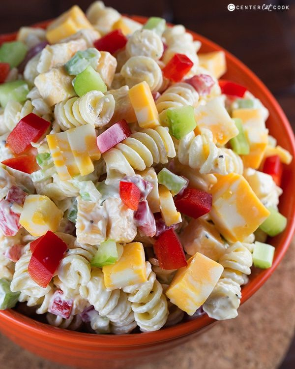 Creamy Cheddar Pasta Salad with a simple dressing is a fantastic side dish for a summer BBQ! It's versatile too – add in broccoli or any other veggies that you'd like!